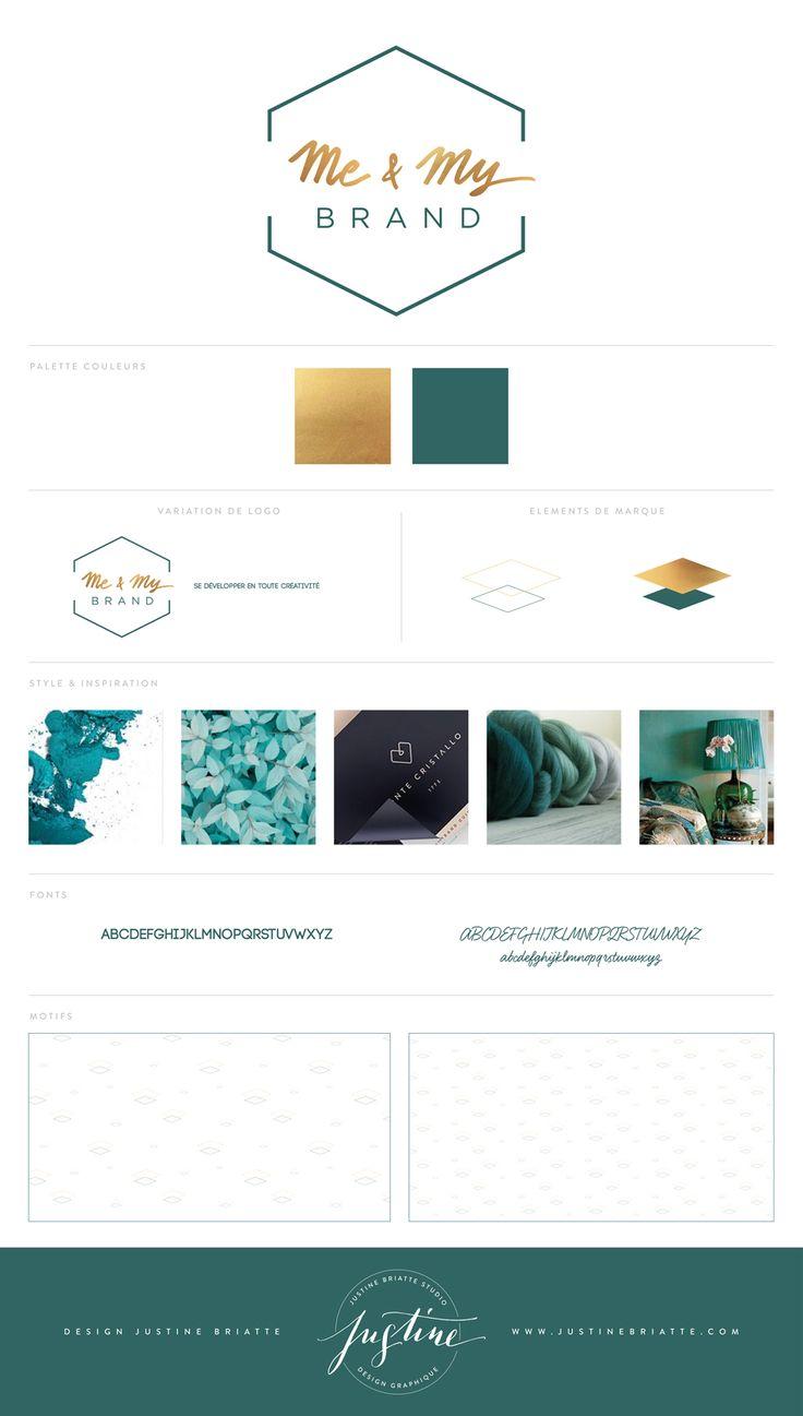 Branding board pour Me & My brand Projet d'identité visuelle complète, création de logo et déclinaisons papeteries par Justine Briatte Studio de Design graphique à Lyon