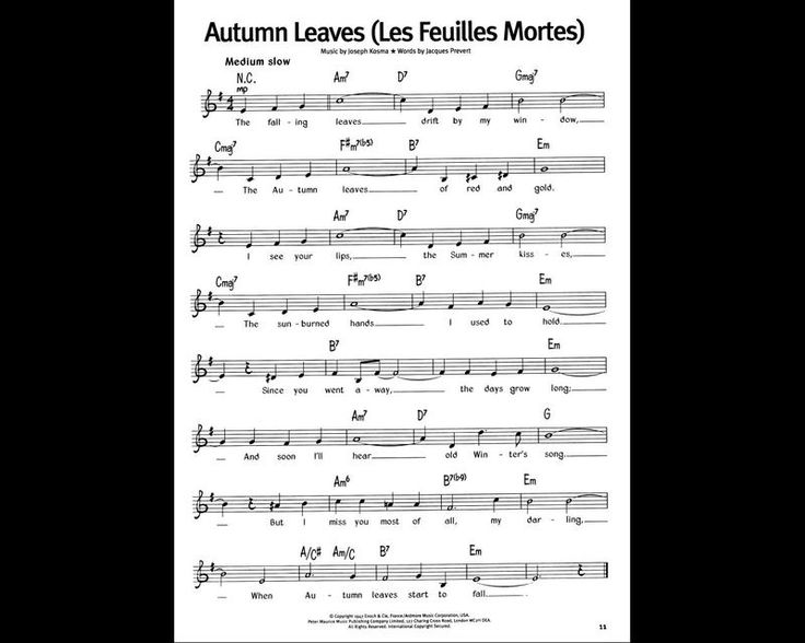 autumn leaves sheet music music music music pinterest. Black Bedroom Furniture Sets. Home Design Ideas