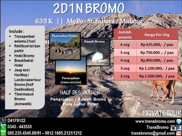 Jual beli Bromo 2 hari 1 malam Half Destination di Lapak Huni_Raya - bromo_raya. Menjual Travel & Hiburan - Menikmati sensasi Liburan Seru ke Bromo bersama teman atau keluarga adalah pengalaman yang sangat menakjubkan. Untuk menjawab kebutuhan Paket Liburan Murah, kami memberikan penawaran Paket Bromo 2 hari 1 malam. Paket Bromo 2H1M yang kami tawarkan adalah paket yang fokus pada liburan wisata Bromo bagi wisatawan dari luar kota. Harga yang murah dengan service terbaik sudah menjad...