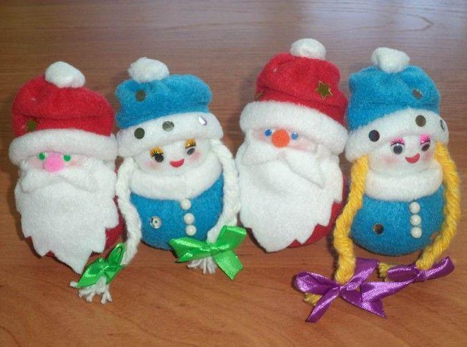 «Дед Мороз и Снегурочка». Мастер-класс изготовления игрушек из флиса Фото
