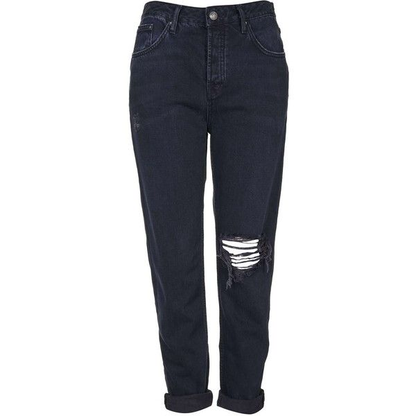 TOPSHOP MOTO Blue Black Ripped Hayden Jeans (445 HRK) ❤ liked on Polyvore featuring jeans, pants, bottoms, trousers, blue black, boyfriend jeans, destroyed jeans, distressed boyfriend jeans, topshop jeans and black jeans