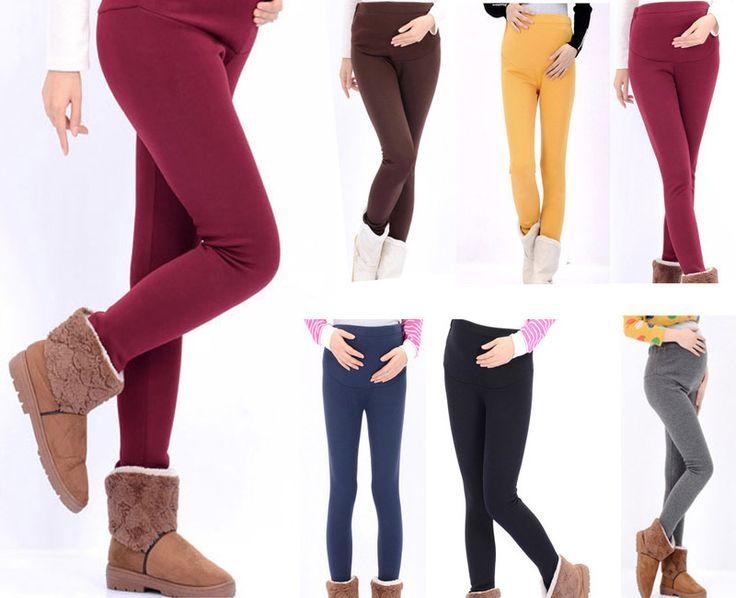 Colorful Warm Maternity Leggings for Pregnant Women Fashion Cotton Pants Autumn/Winter Plus Velvet Thicken Trousers