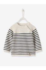 Vertbaudet Stribet trøje Hvid, Blå, Brun - Dreng - Trøjer | Ellos Mobile