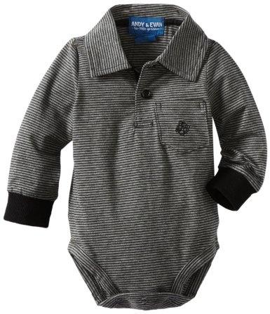 Andy & Evan Baby-Boys Newborn Sebastian Stripe Bodysuit Shirt, Black/Gray, 3-6 Months: Clothing
