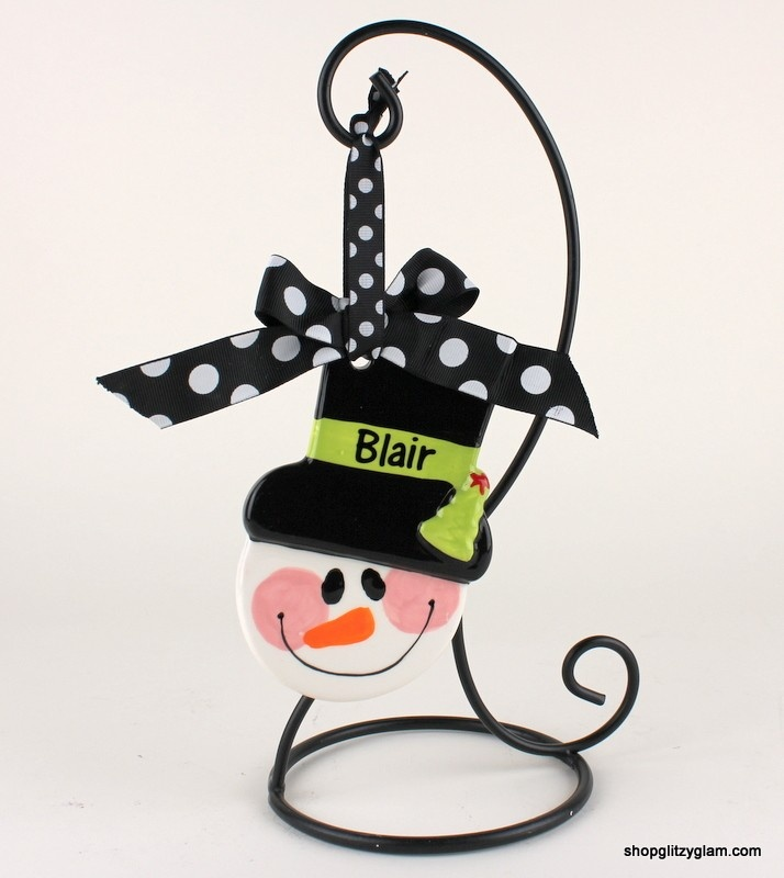 Adorablesnowman hand painted ceramic layered ornament.Personalization is available. CUTE TEACHER GIFT