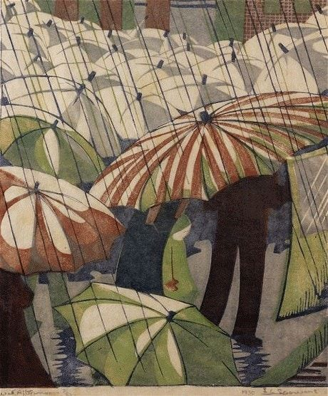 A print of a sea of umbrellas in the rain has surprised Christie's experts, who had estimated it would fetch between £3,000 and £5,000, by selling for £51,650 to an American collector. The print, titled Wet Afternoon (pictured), is by Ethel Spowers, an Australian artist who came to London to study in the 1920s, and found her feet making lino-cut prints at the Grosvenor School of Modern Art. By the late 1930s she had ceased to work because of ill health.