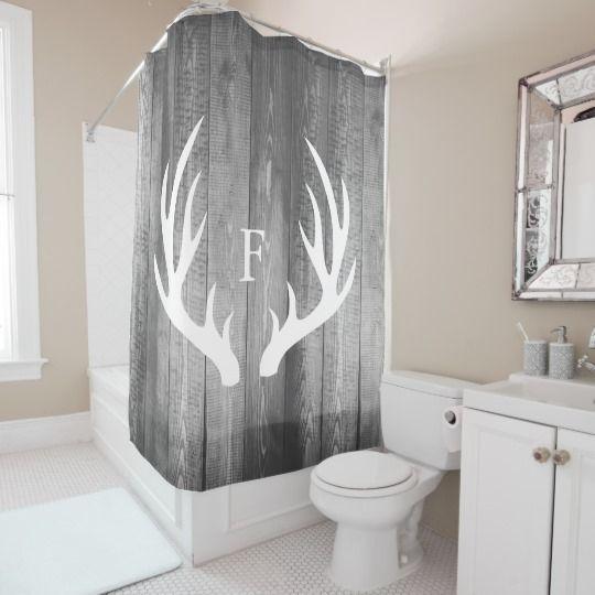 White Deer Antlers Gray Barn Wood Monogram Shower Curtain