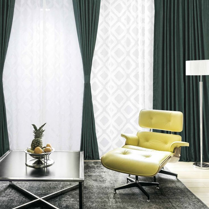 Basil Green Designer Shantung Faux Silk Curtains