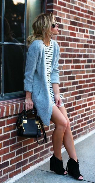 Women's Grey Knit Cardigan, White and Black Horizontal Striped Crew-neck T-shirt, Light Blue Ripped Denim Shorts, Black Leather Crossbody Bag, and Black Cutout Suede Wedge Ankle Boots