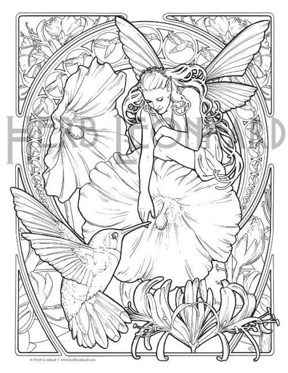 Herb Leonhard Adult Coloring Page, Fae Nouveau Coloring Book ...