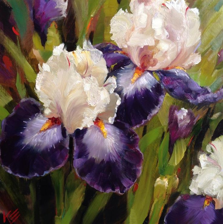 152 best pretty paintings irises images on pinterest art flowers dpw fine art friendly auctions iris garden by krista eaton mightylinksfo