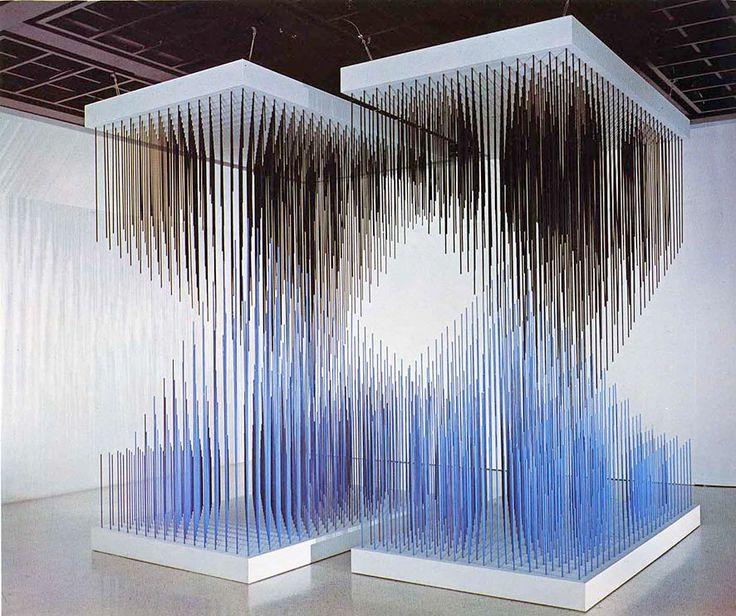 "Jesus Rafael Soto's ""Doble progresión azul y negra,"" 1975, will be on view starting Jan. 10 at Galerie Perrotin in Paris"