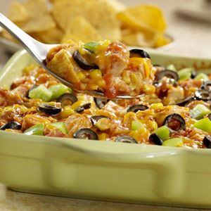 Monterey Chicken Tortilla Casserole.  An easy version of a south-of-the-border classic. Tortilla chips layered with chicken, picante sauce, corn, and cheese.