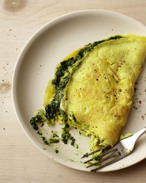 Omelette aux épinards classique-pesto au basilic - Vivre entier Eat Well