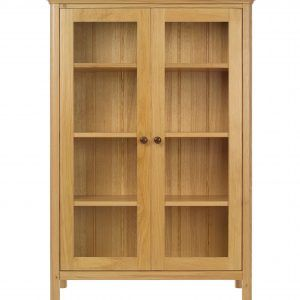 Wooden Bookshelf With Glass Doors