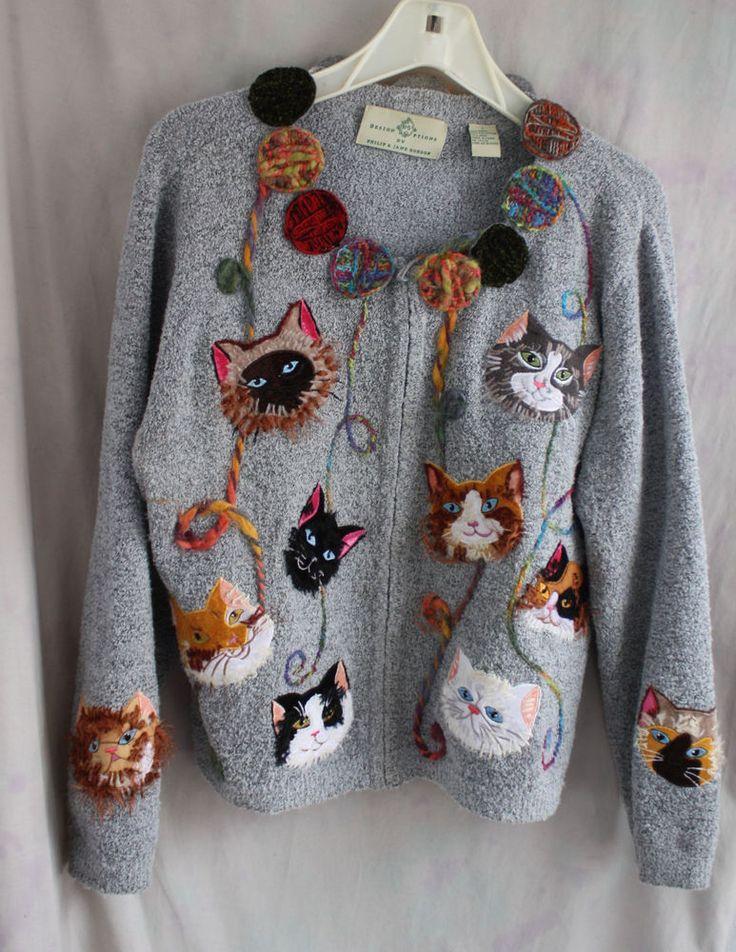 Design Options by Philip & Jane Gordon Embroidered Cat Cardigan Sweater L #DesignOptions #Cardigan