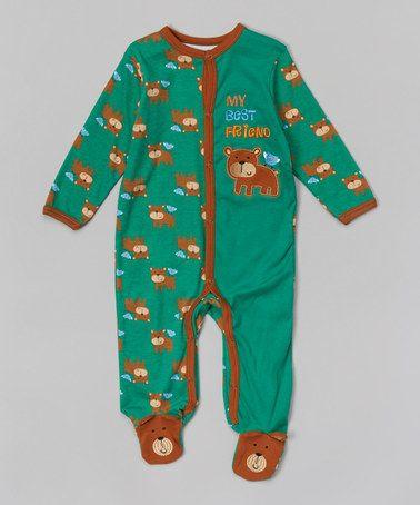 Look at this #zulilyfind! Green & Brown Bear Appliqué Footie - Infant by Buster Brown #zulilyfinds