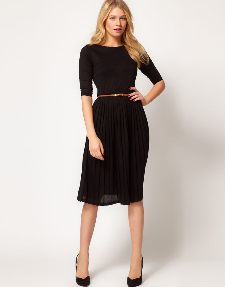Midi dress with pleated skirt-also available in red! :) $61