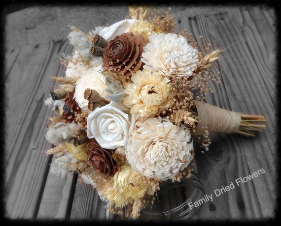 Creamy Wheat Collection - Bridesmaid Bouquet - Dried Flower Toss Bouquet - Wood Sola Flower - Wedding Bouquet - Cream White Gray Sage Golden...
