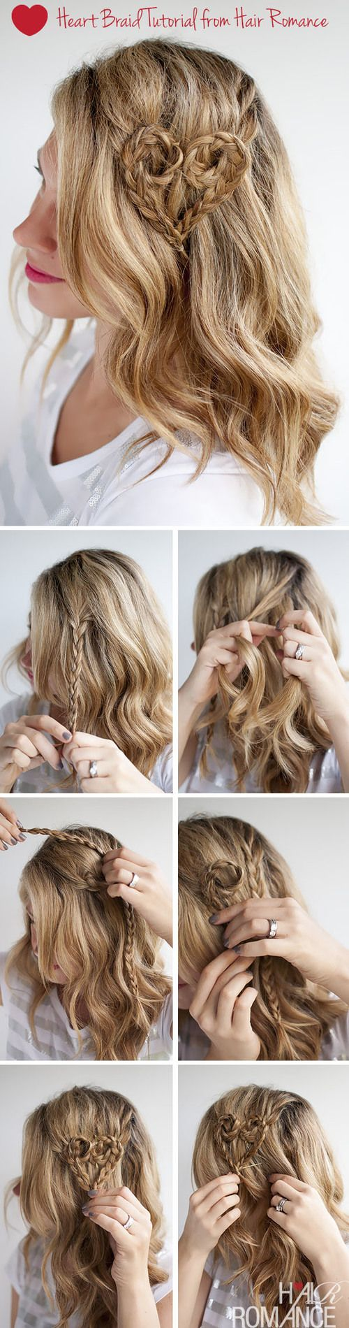 Valentine's Day Hairstyle Tutorial – Heart Braid Hairstyle   Hair Romance on we heart it / visual bookmark #53744698