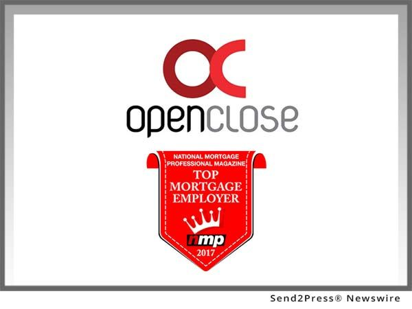 OpenClose, a multi-channel loan origination system (LOS) mortgage software provider, announced that it earned a spot on National Mortgage Professional magazine's (NMP) annual Top 100 Mortgage Employers list for 2017.