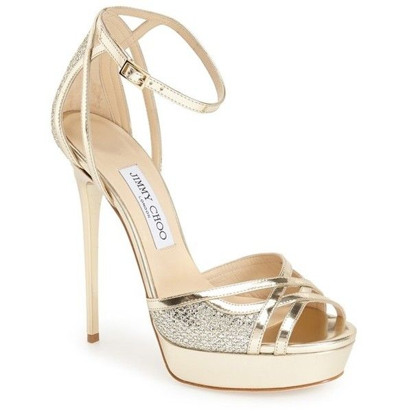 "Jimmy Choo 'Laurita' Sandal, 5 1/4"" heel found on Polyvore featuring shoes, sandals, heels, silver leather glitter, metallic sandals, ankle strap high heel sandals, platform heel sandals, high heel shoes and metallic platform sandals"