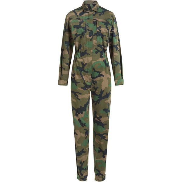 Valentino Valentino Cash & Rocket Camouflage Cotton Jumpsuit (48 880 ZAR) ❤ liked on Polyvore featuring jumpsuits, green, valentino jumpsuit, jump suit, cotton jumpsuit, jumpsuits & rompers and camouflage jumpsuit