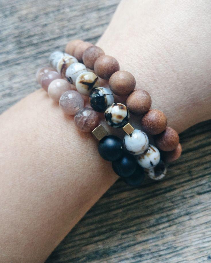 Bracelet stack✨sandalwood✨agate✨sunstone✨black onyx