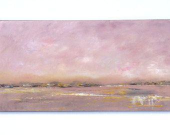 Playa de pintura pintura en gris y rosa melocotón de mar. 8 x