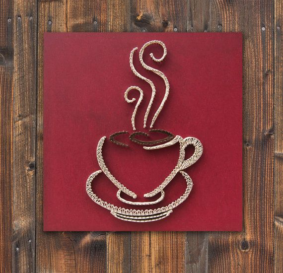 String art coffee with acrylic painting, coffee cup wall hanging, strings and nails art, christmas gift