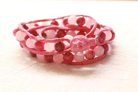Pink triple wrap bracelet by TipToeTulipJewellery on Etsy, $60.00