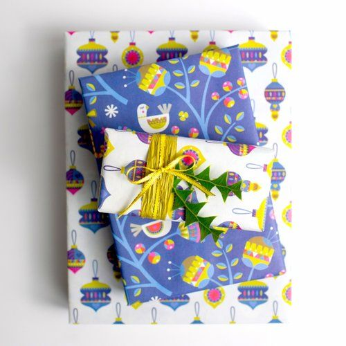 Pax Noel! Sweet Scandinavian inspired Christmas design on this eco-friendly recyclable gift wrap. A double win for the holidays.
