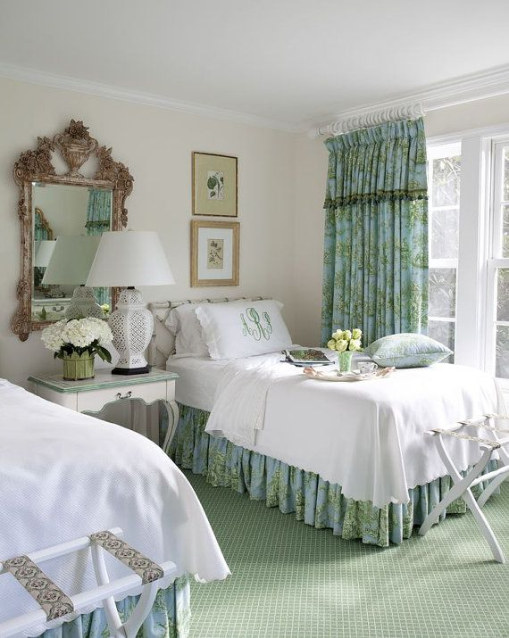 Love this for guest room Bedding , Bed skirts, Dust Ruffles. Dust skirts, Shams, Pillows, Window curtains, Bedroom