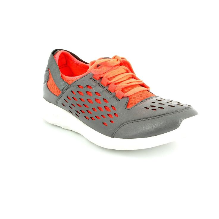 Get your ladies clarks trainers online now at Begg Shoes and Bags. Grey with orange lace up clarks trainers: www.beggshoes.com  #clarks #clarksshoes #sneakers #trainers