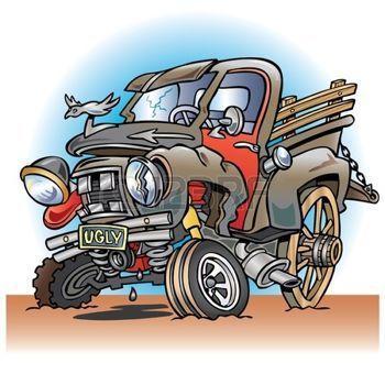 camion bande dessinée: Laid en panne de camion agricole