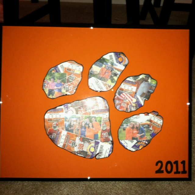 Ticket stubs and a couple of pictures from tailgating, made into a paw. Great Christmas present!