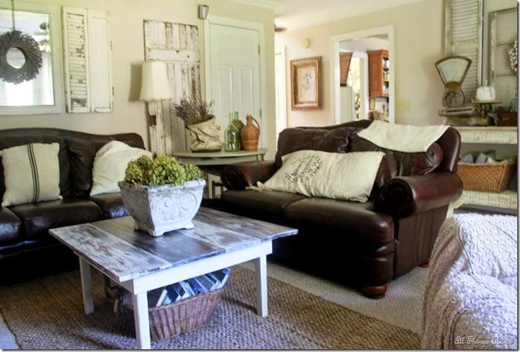 incredible decorating brown leather living room furniture | mixing leather couches with farmhouse finds | Farmhouse ...
