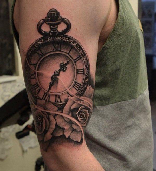 Hummingbird Pocket Watch Tattoo Design