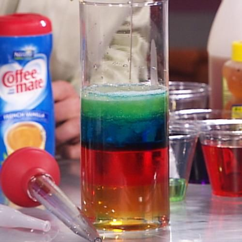 "Density Fun for ""States of Matter"" unit!: Science Projects, Science Experiment, Layered Density, Rubbed Alcohol, Density Experiment, Density Columns, Science Fair, Science Fun, Dawn Dishes Soaps"