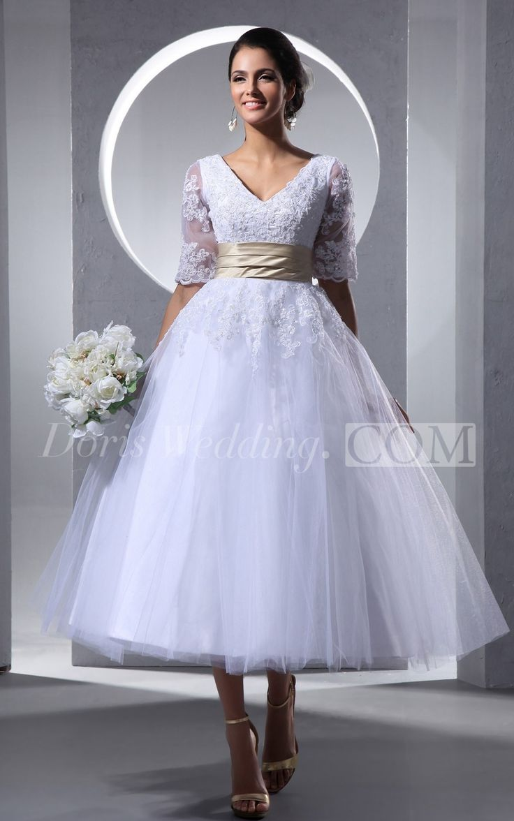 Only $89----Half-Sleeve V-Neck Tea Length Lace Wedding Dress With Tulle Overlay, Lace Bridal Gowns With Sleeves 2016. Wedding Reception Dress 2016 #lace #tealength #weddings #DorisWedding.com