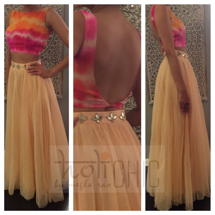 'Shayla' tie-dye crop top with embellished tulle lengha available for pre-sale. Info@holichicbymegha.com