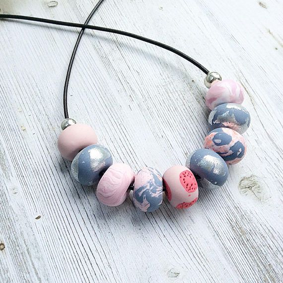 Soft pinks and dusty blues necklace polymer clay necklace
