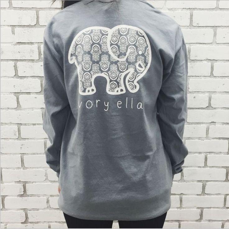 Women'S T-Shirts Ivory Ella Elephant Print Classic Soft Tee Long Sleeve Tops