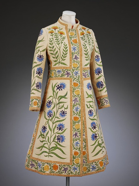 """Rajputana"", Hand-Painted Wedding Coat Designed by Richard Cawley. London, 1970-1971."
