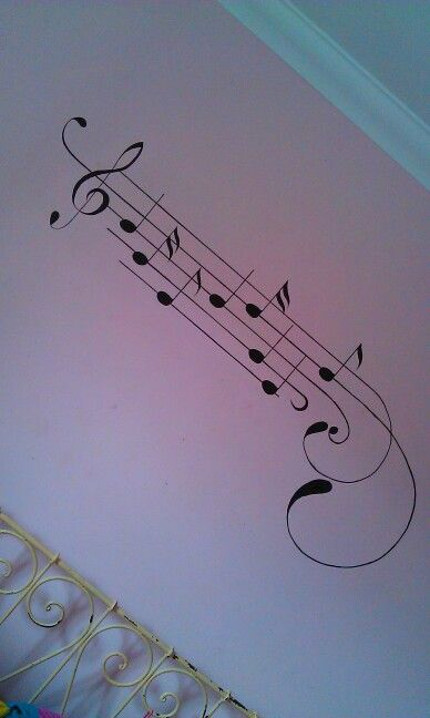 Music notes i painted on my bedroom wall. Ayesha Ganger