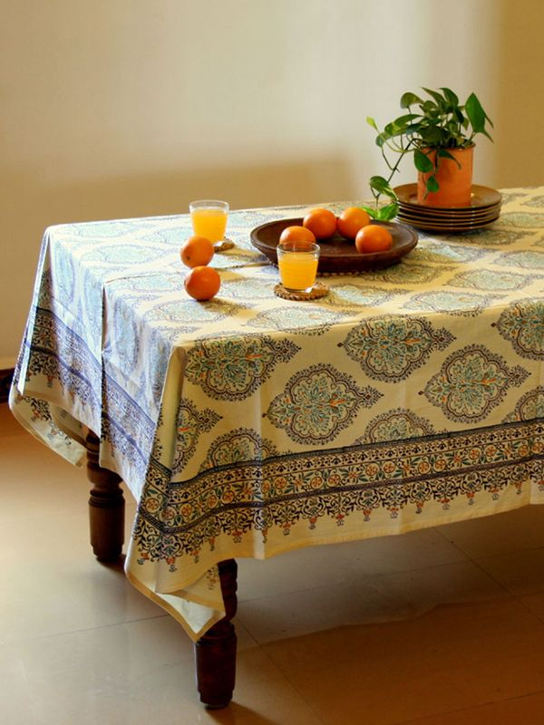 Elegant Decorative Yellow Blue FRENCH TABLECLOTH: Use our colorful cotton tablecloths to set the mood you want to create, regardless of the occasion. So whether you are looking for colorful picnic table cloths, or something cheery for your country kitchen or even a decorative atmospheric setting for an elegant formal dinner party; this luxury cotton tablecloth is sure to add vibrant color and drama to the banquet.