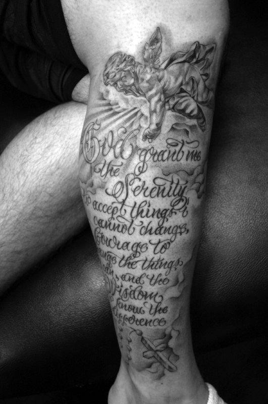 Lower Leg Sleeve Male Serenity Prayer With Angels Tattoo Design
