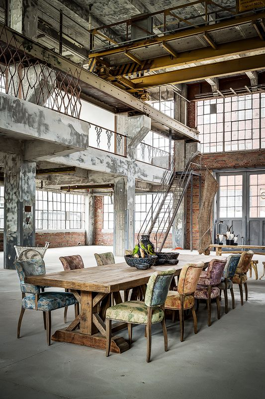 Industrial Dining, Warehouse, Interiors, Home Decor