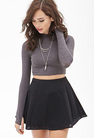 Mesh Skater Skirt | FOREVER21 - 2000129890