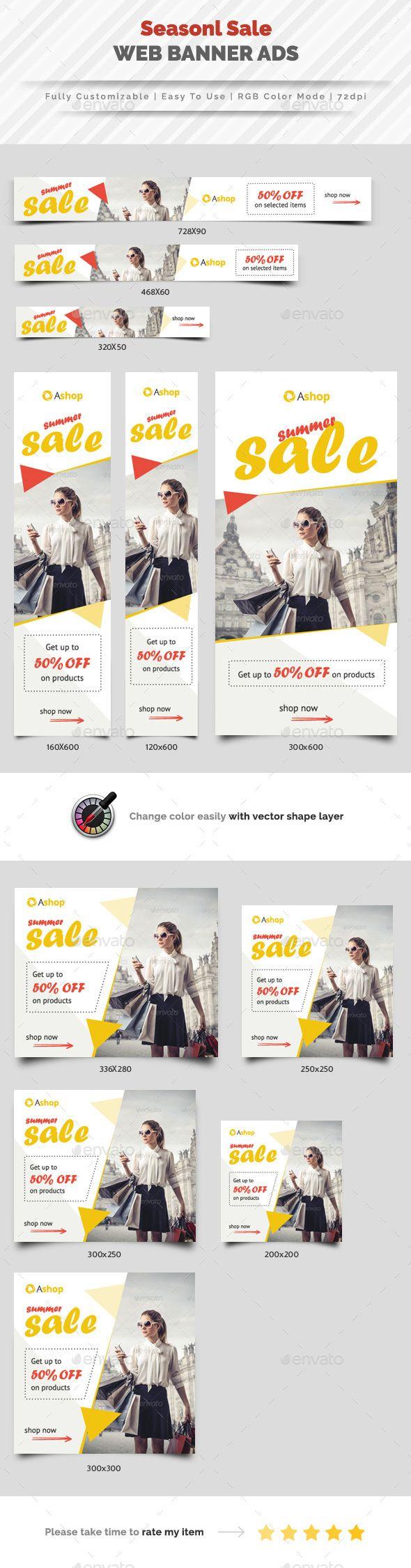 Seasonal Sale Banner Ads Template PSD #design Download: http://graphicriver.net/item/seasonal-sale-banner-ads/14430482?ref=ksioks